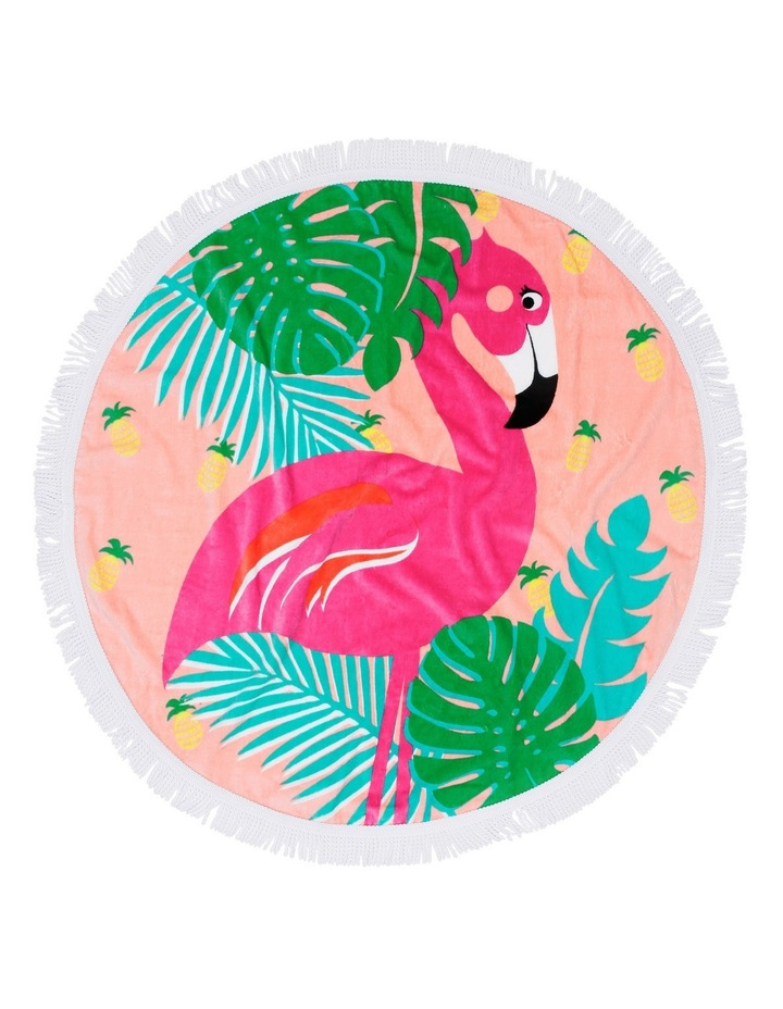 Round Beach Towel in Flamenco Pink image 1