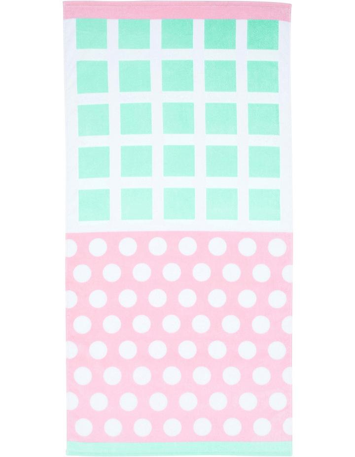 Junior Beach Towel: Grid Pink / Aqua image 1