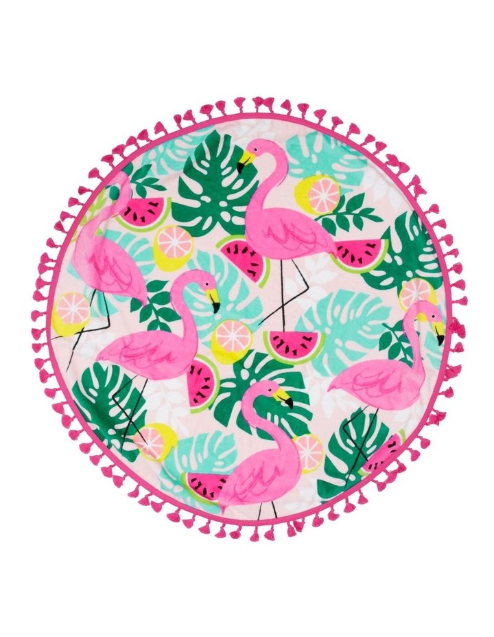 Fruity Flamingo Round Beach Towel image 1