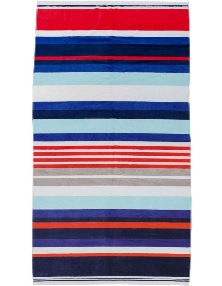 Hampton Riccio Stripe Beach Towel in Red image 1