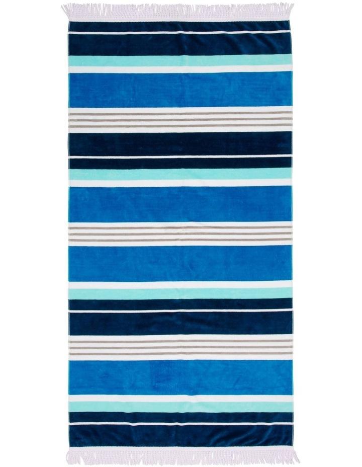 Santorini Duoglio Stripe Beach Towel in Blue image 1