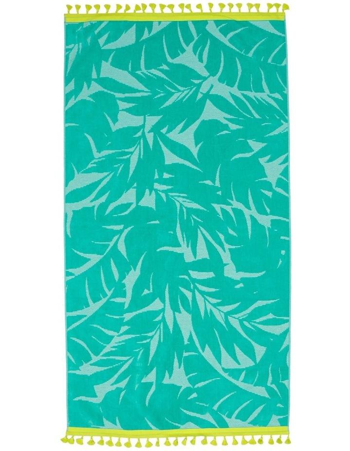 Coastal Jungle Leaf Beach Towel image 1