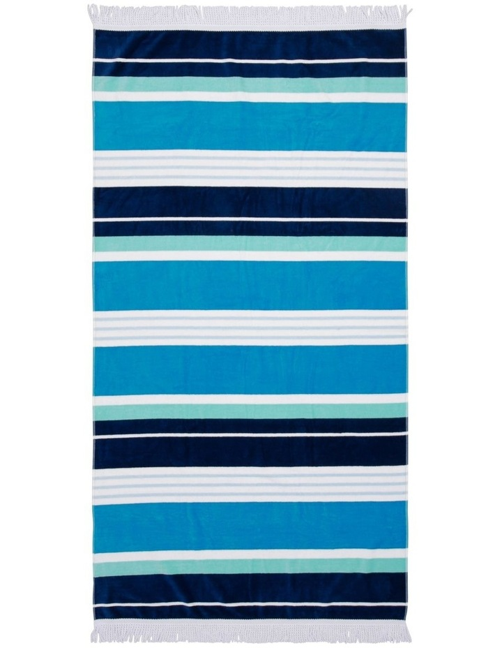 Santorini Bay Stripe Beach Towel image 1