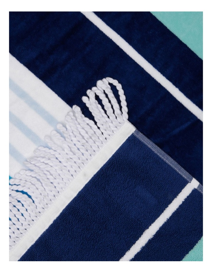 Santorini Bay Stripe Beach Towel image 2