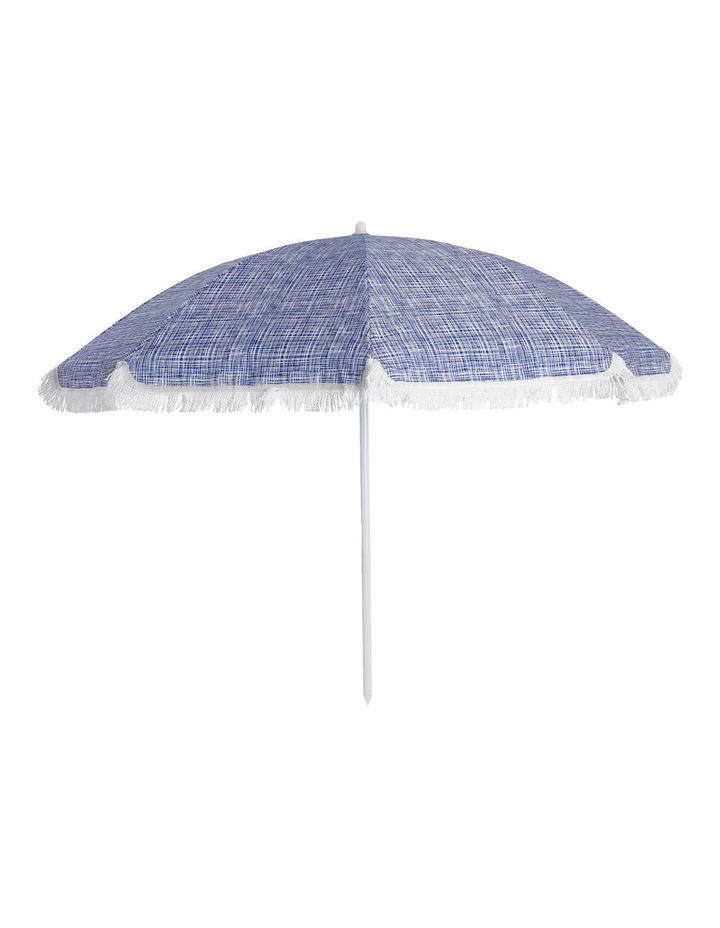 Accra Beach Umbrella Fringed Blue image 1