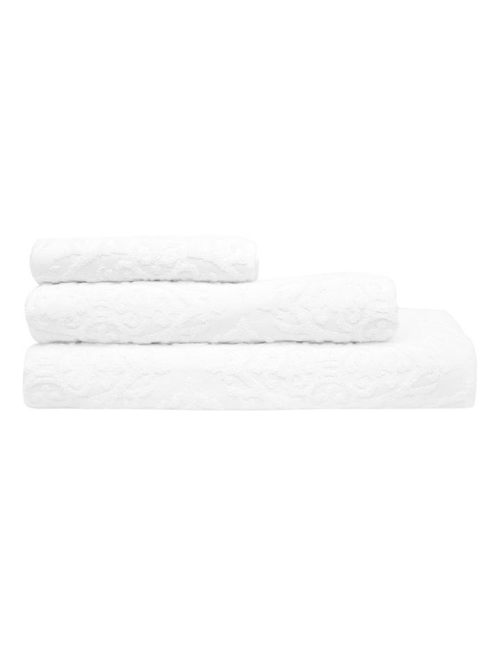 Juliette Damask Cotton Jacquard Towel Range in White image 1