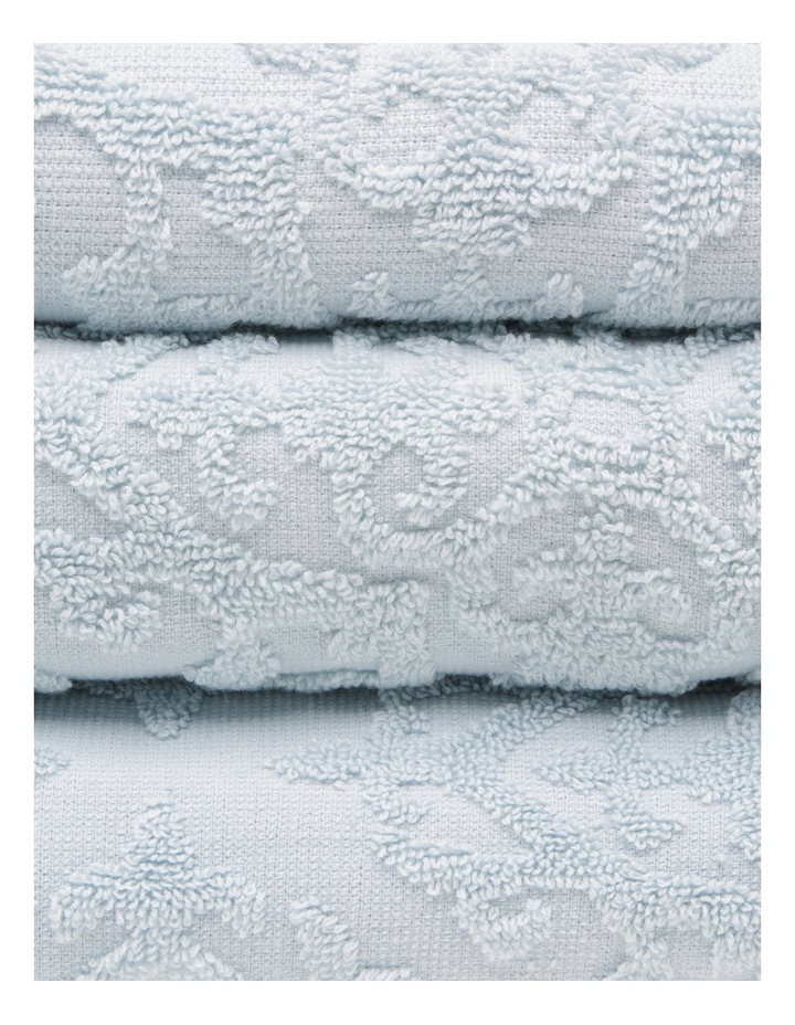 Juliette Damask Cotton Jacquard Towel Range in Carribean Mist image 2