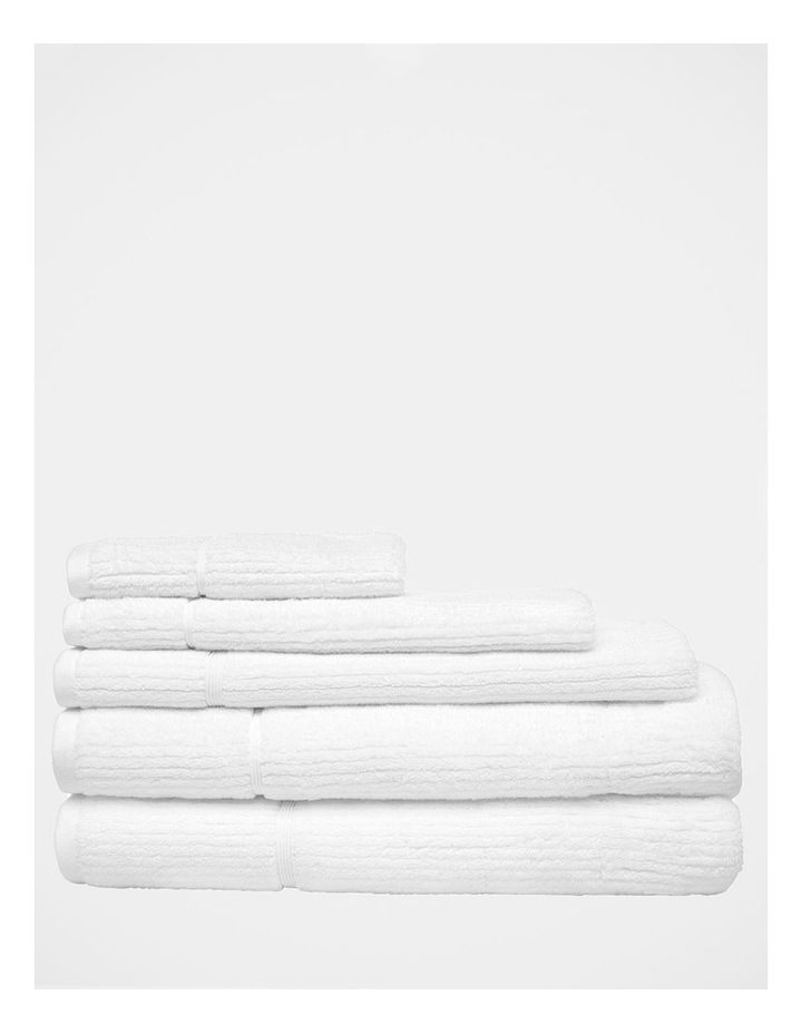 Combed Cotton Ribbed Towel Range in White image 1