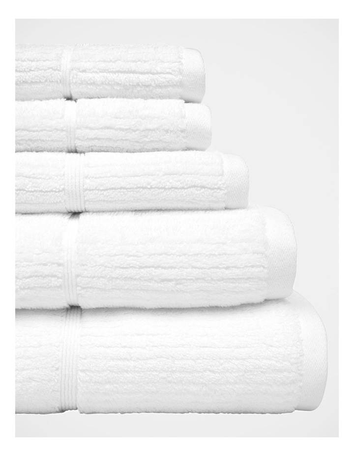 Combed Cotton Ribbed Towel Range in White image 3