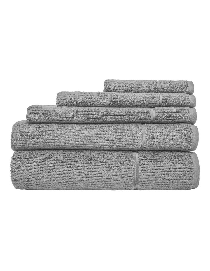 Combed Cotton Ribbed Towel Range in Silver image 1