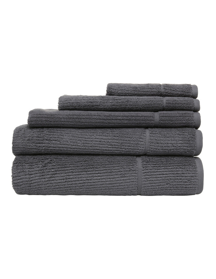 Combed Cotton Ribbed Towel Range in Charcoal image 1