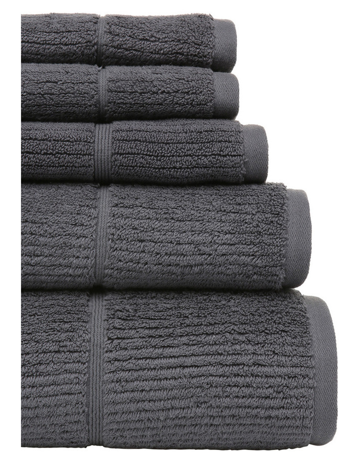 Combed Cotton Ribbed Towel Range in Charcoal image 2