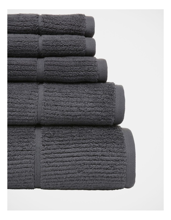 Combed Cotton Ribbed Towel Range in Charcoal image 3