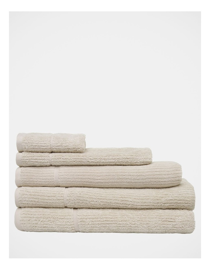 Combed Cotton Ribbed Towel Range in Sand image 1
