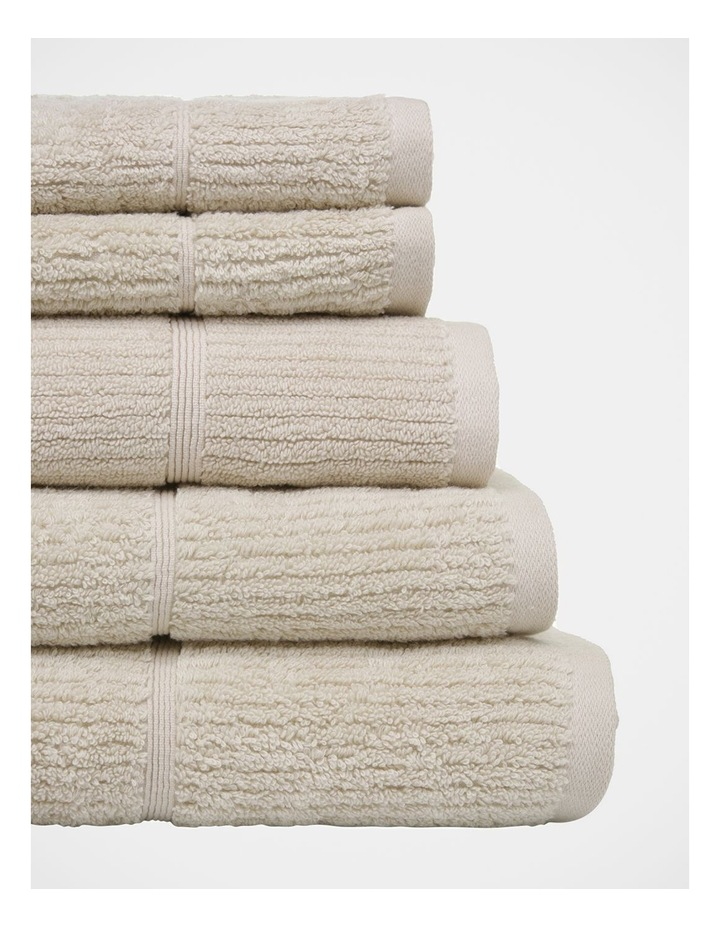 Combed Cotton Ribbed Towel Range in Sand image 2