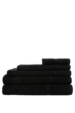 Vue - Combed Cotton Ribbed Towel Range in Black