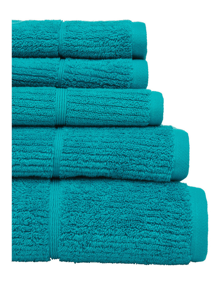 Combed Cotton Ribbed Towel Range in Teal image 2