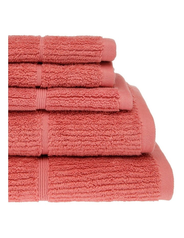 Combed Cotton Ribbed Towel Range in Coral image 2