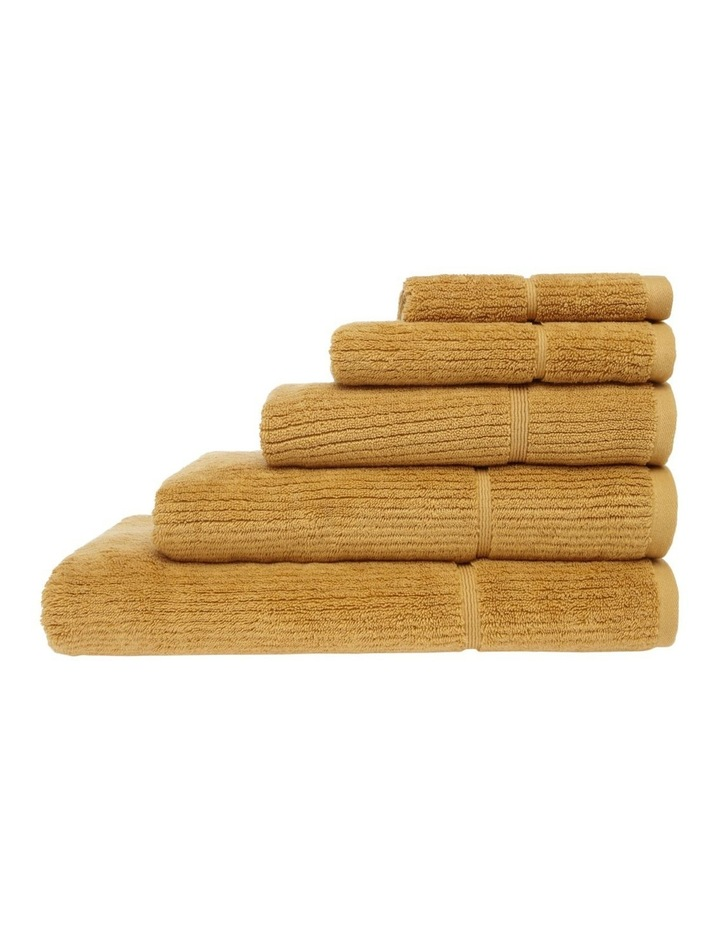 Combed Cotton Ribbed Towel Range in Dusty Mustard image 1