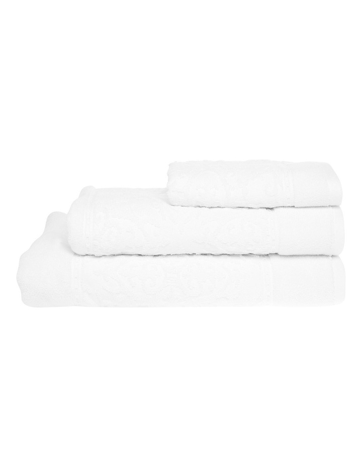 Marais Damask Cotton Towel Range in White image 1