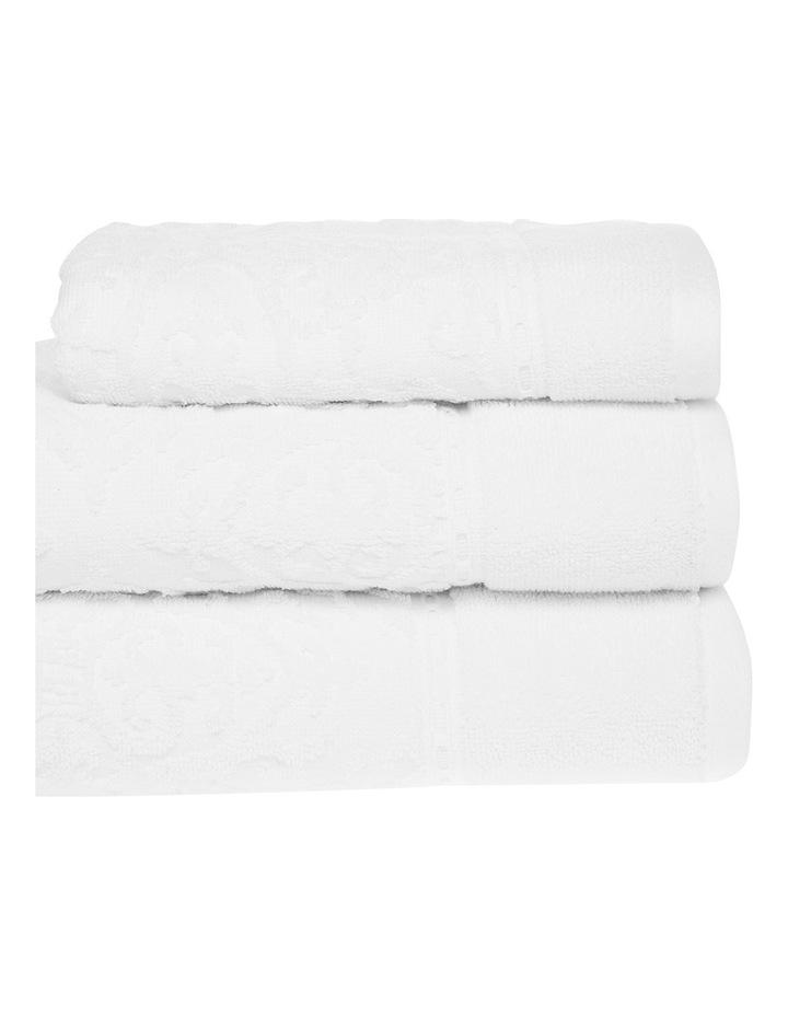 Marais Damask Cotton Towel Range in White image 2