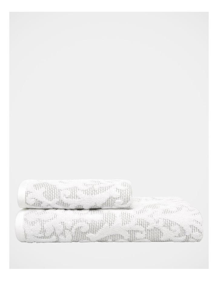 Lola Damask Towels in Grey/White image 1