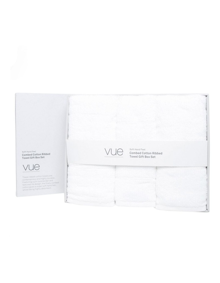Combed Cotton Ribbed Towel Gift Set in White image 1