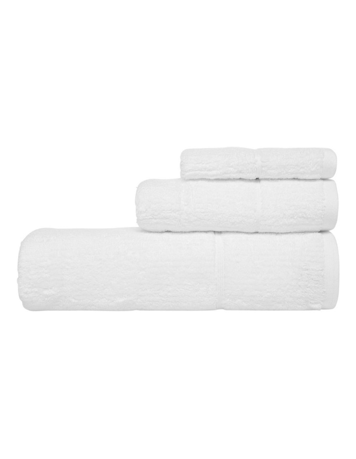 Combed Cotton Ribbed Towel Gift Set in White image 2