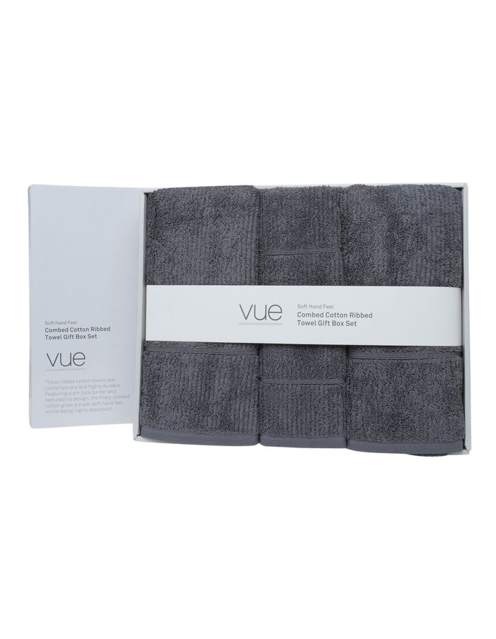 Combed Cotton Ribbed Towel Gift Set in Charcoal image 1