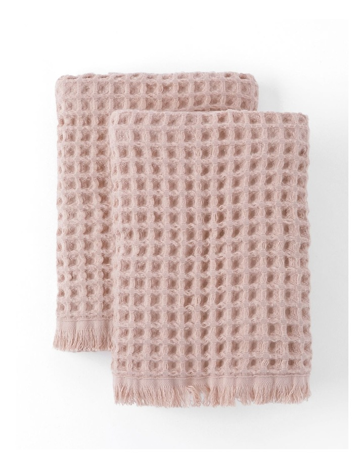 Waffle Hand Towel Pack in Pink Clay image 1