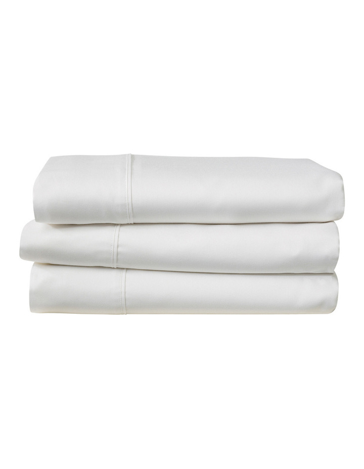 Soft Sateen Cotton Standard Pillowcase Pair in Snow 400TC image 2