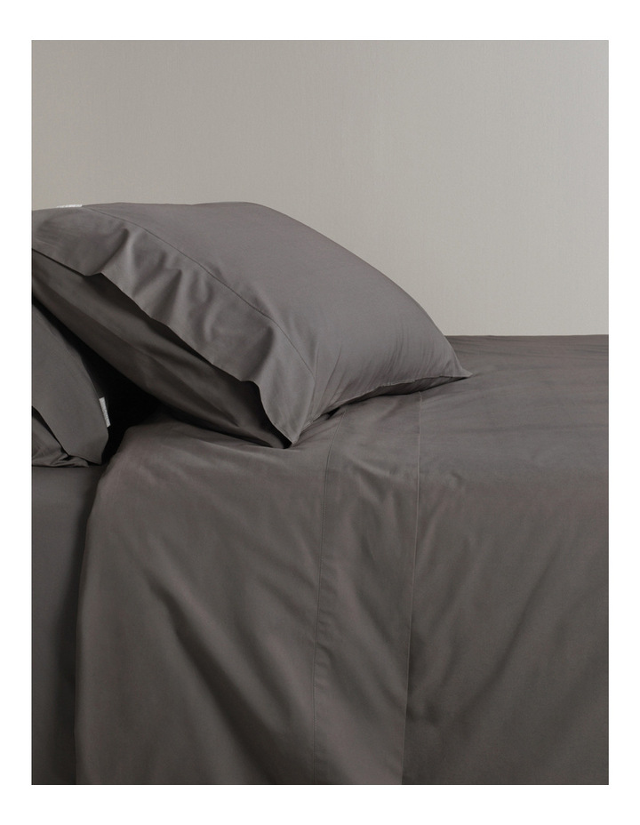 Classic Percale 300TC Sheet Set Range in Charcoal image 1