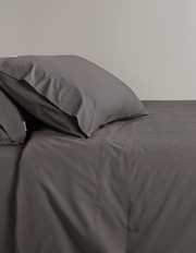 Classic Percale 300TC Cotton Fitted Sheet in Charcoal