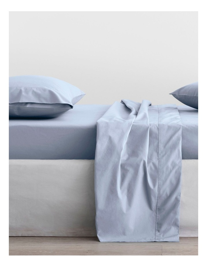 Organic Cotton Percale 300TC Fitted Sheet in Soft Blue image 1