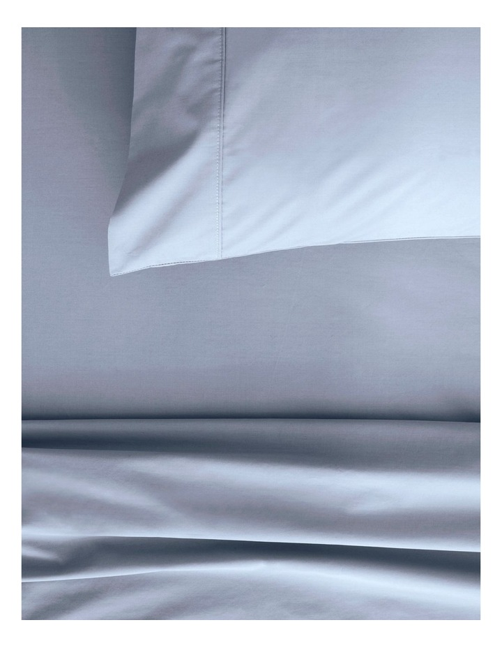 Organic Cotton Percale 300TC Fitted Sheet in Soft Blue image 2