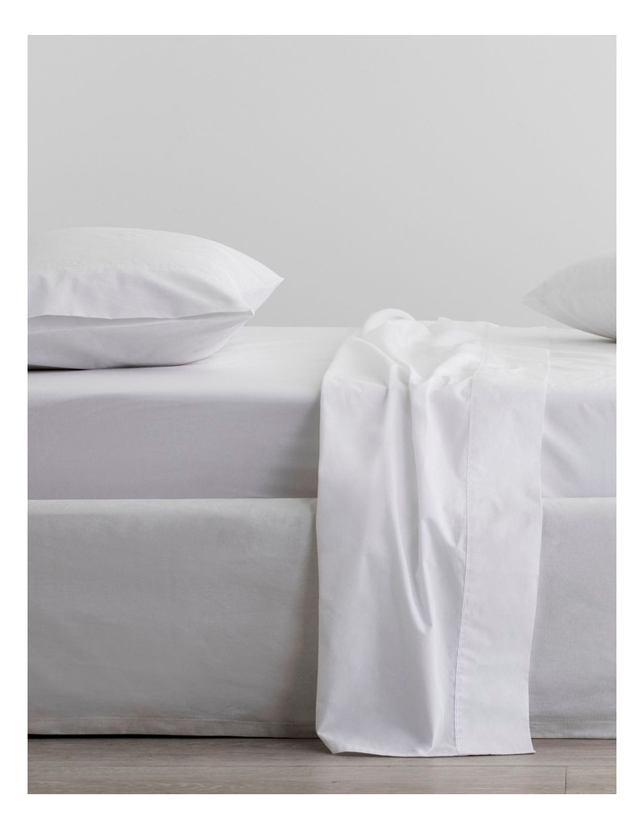Organic Cotton Percale 300TC Fitted Sheet in Snow image 1