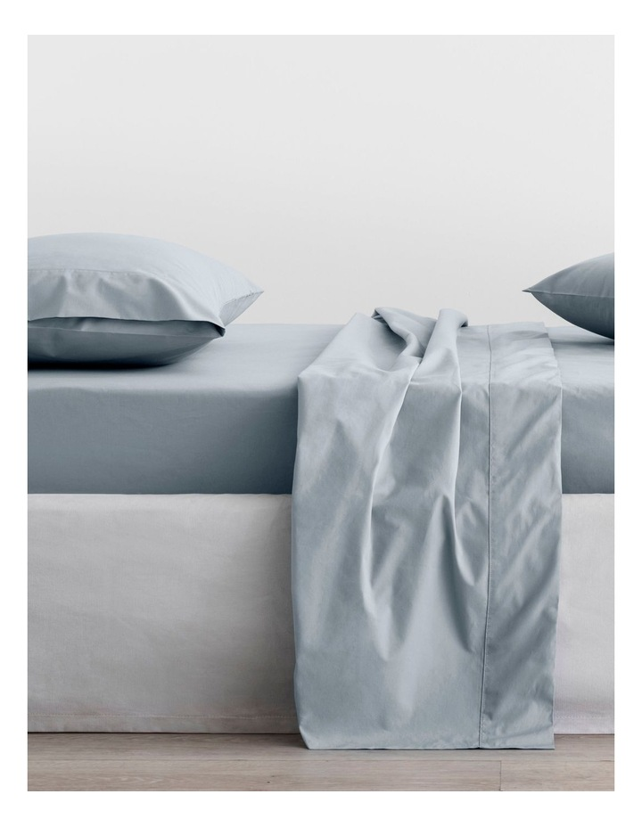 Organic Cotton Percale 300TC Fitted Sheet 40cm in River image 1