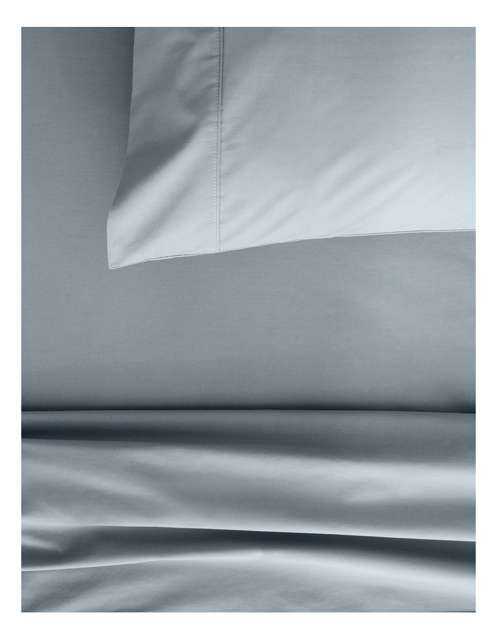 Organic Cotton Percale 300TC Fitted Sheet 40cm in River image 2