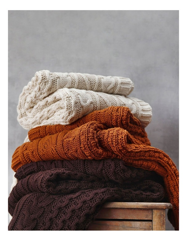 Cable Knit Throw in Coffee image 4