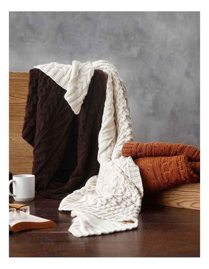 Cable Knit Throw in Coffee image 5