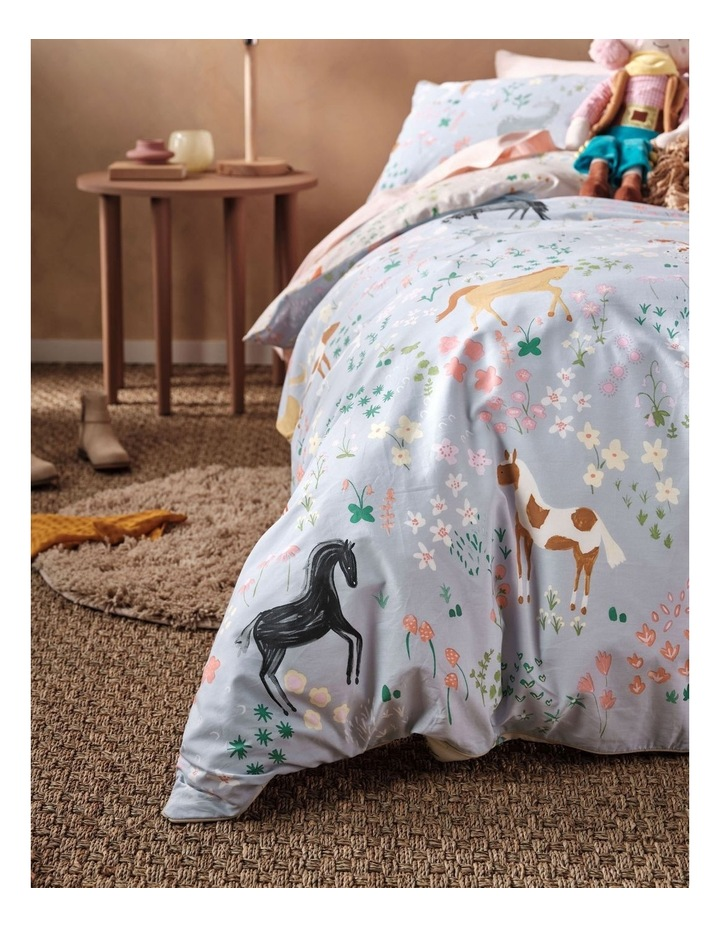 Horsemania Quilt Cover Set in Sky image 5