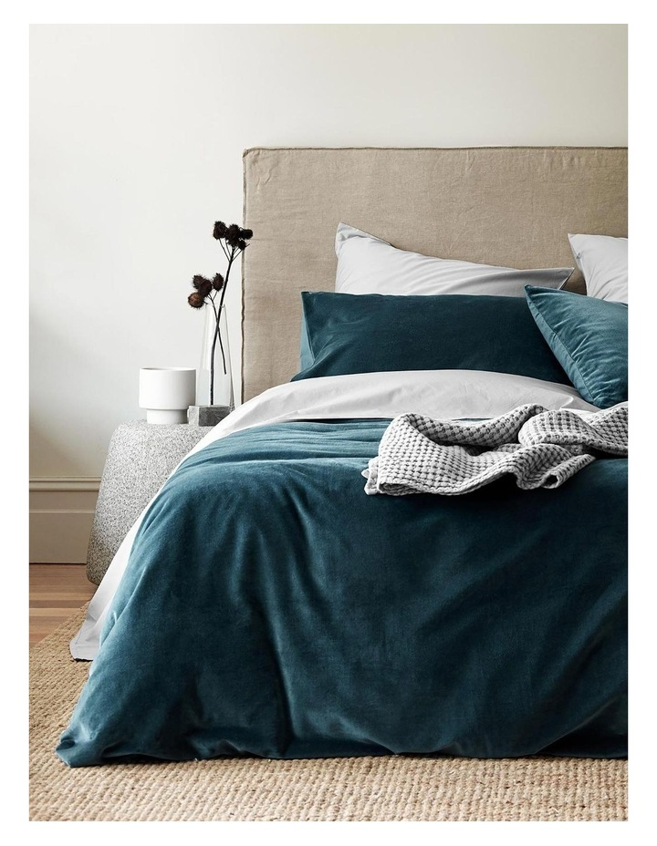Luxury Velvet Quilt Cover in Indian Teal image 2