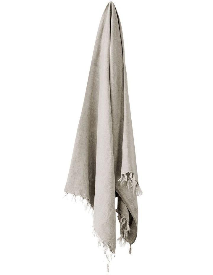 Vintage Linen Fringe Throw in Natural image 1