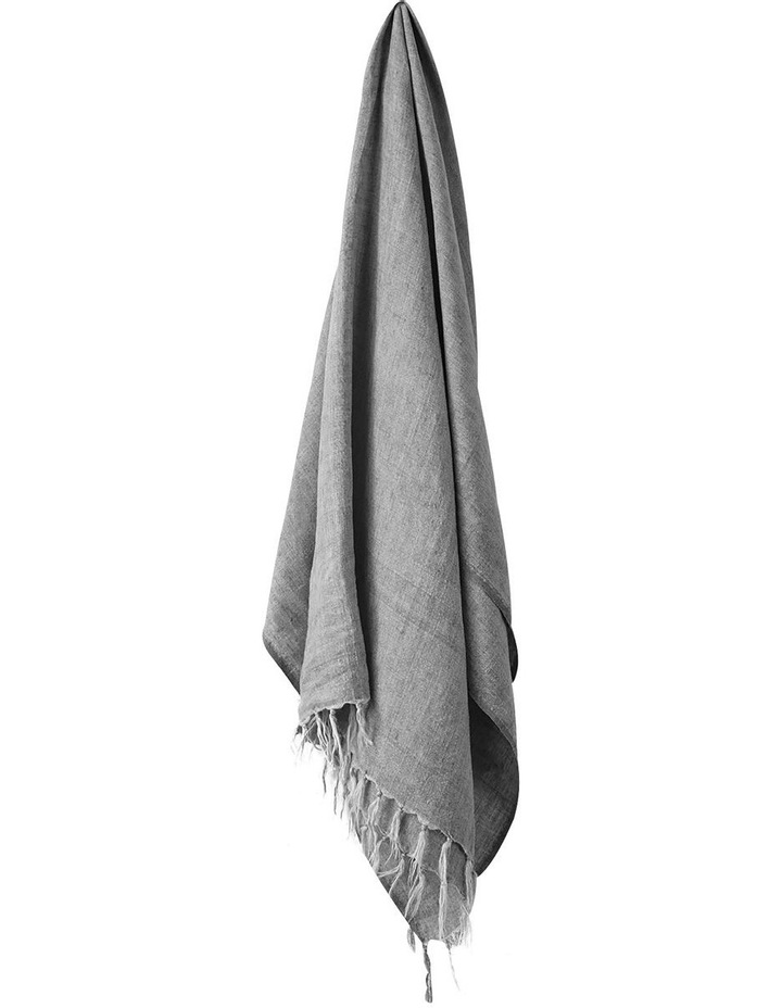 Vintage Linen Fringe Throw in Smoke image 1