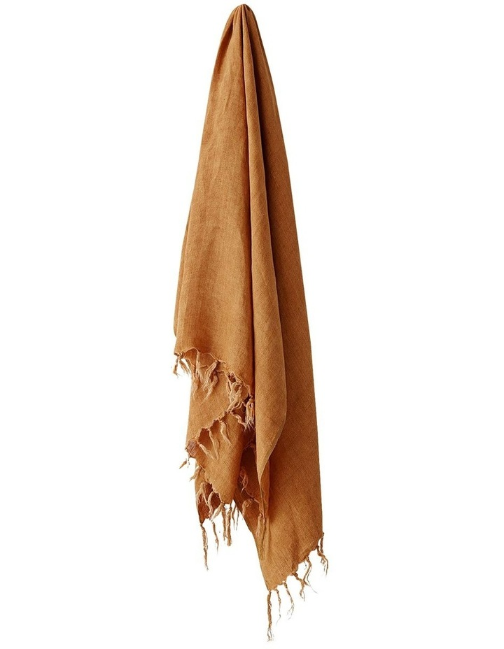 Vintage Linen Fringe Throw in Cinnamon image 1