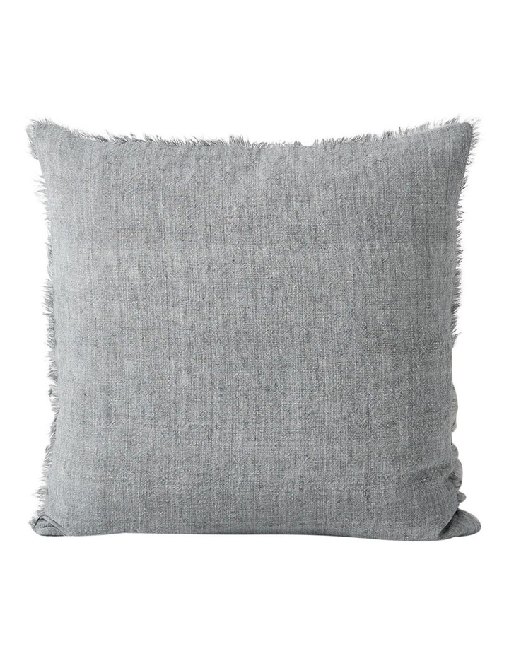 Vintage Linen Fringe Cushion In Smoke image 1