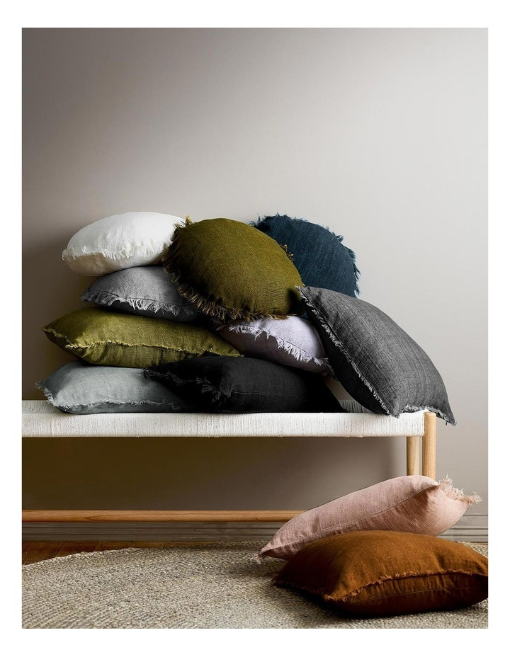Vintage Linen Fringe Cushion In Smoke image 2