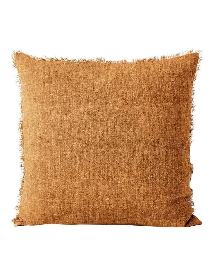 Vintage Linen Fringe Cushion in Cinnamon image 1