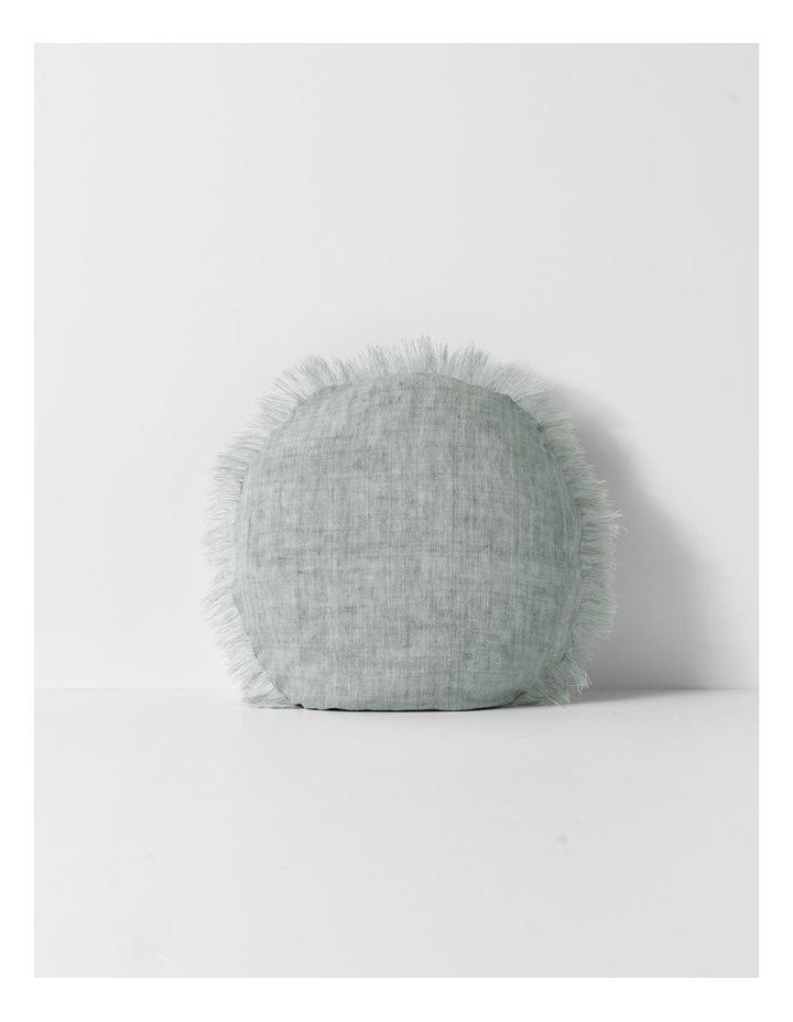 Vintage Linen Fringe Round Cushion in Limestone image 1