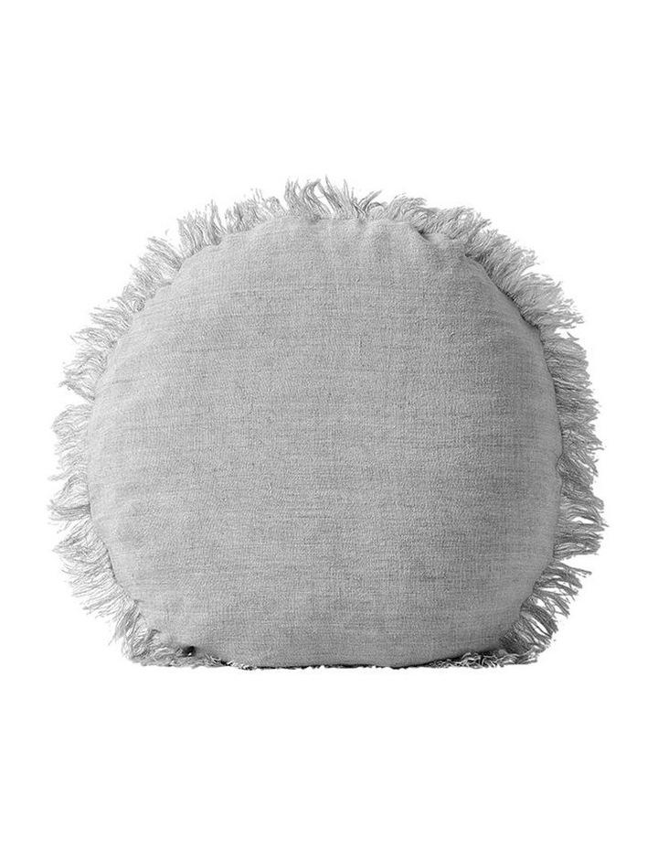Vintage Linen Fringe Round Cushion in Smoke image 1